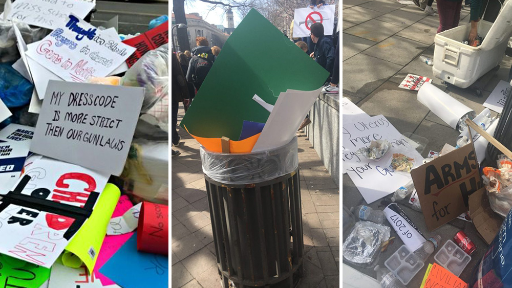 Weekend anti-gun protests in D.C., like previous Left-wing demonstrations, generate tons of trash for others to clean up