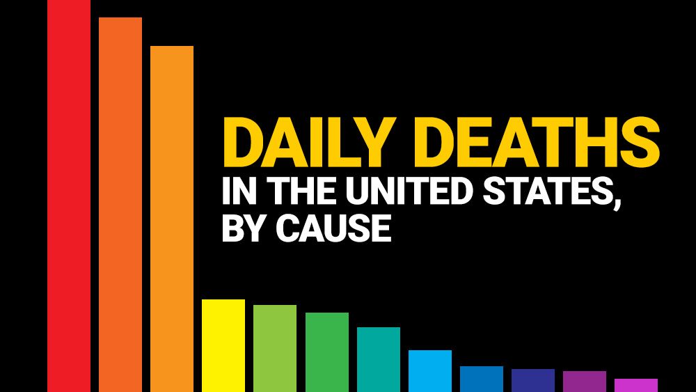 Infographic: Daily deaths in the United States, by cause – covid-19, seasonal flu, heart disease, cancer, accidents and more