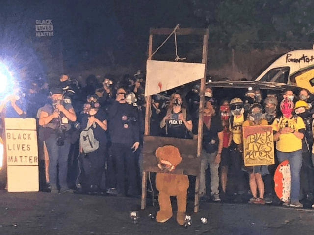 "BLOOD in the streets: Left-wing Portland rioters display bloody guillotine as they burn American flags; new Democrat logo says ""Death to America"""